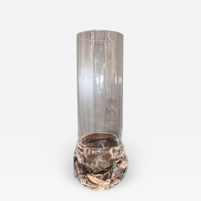 Daum Brutalist Daum Crystal Vase Signed France