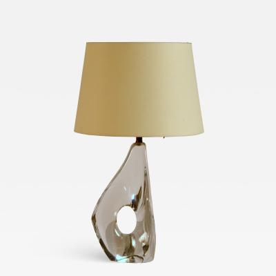Daum Elegant Small Freeform Crystal and Parchment Table Lamp by Daum