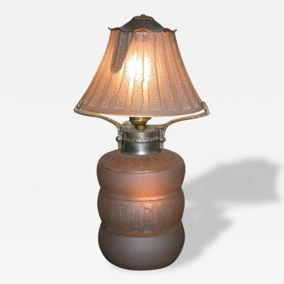 Daum French Acid Etched Art Deco Table Lamp