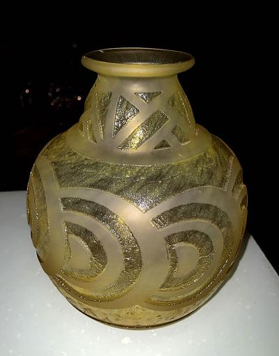 Daum French Art Deco Modernist Glass Vase with Deep Thick Acid Etched Circles