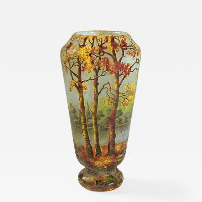 Daum French Art Nouveau Autumnal Landscape Vase by Daum
