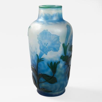 Daum French Art Nouveau Cameo Glass Vase by Daum