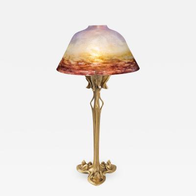 Daum French Art Nouveau Table Lamp by Daum Majorelle