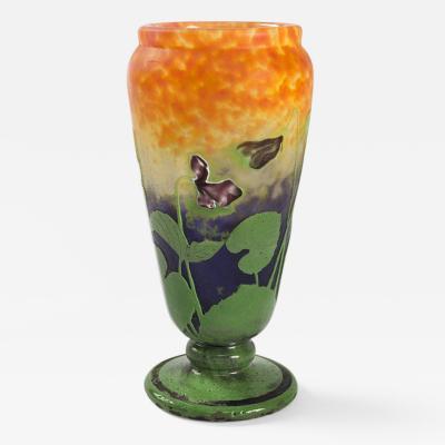Daum French Cameo Glass Vase by Daum