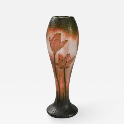 Daum French Cameo Glass Vase by Daum