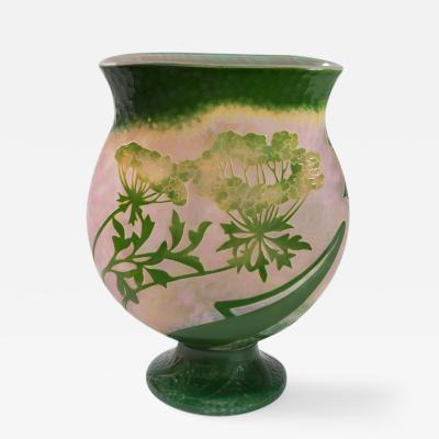 Daum French Grande berce des pr s Cameo Glass Vase by Daum