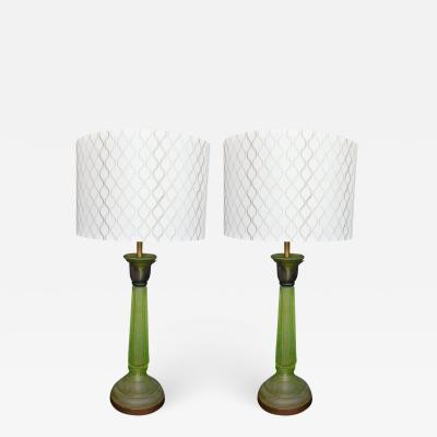 Daum Pair of Green Glass Lamps in the Style of Daum