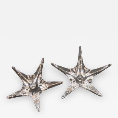 Daum Rare Pair of Daum Star Shaped Crystal Candlesticks Signed