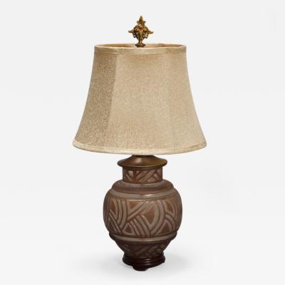 Daum Signed Daum Deco Acid Etched Table Lamp