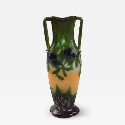 Daum Wheel Carved Cameo Glass Vase by Daum