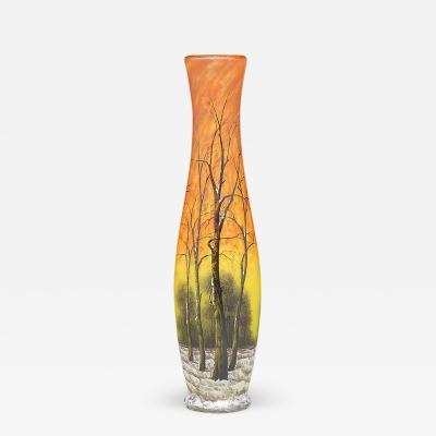 Daum Winter Scene Glass Vase by Daum