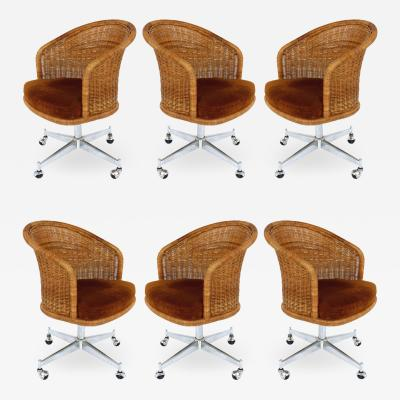 Daystrom Mid century Rattan Stainless Steel Swivel Chairs Daystrom Furniture Set of 6