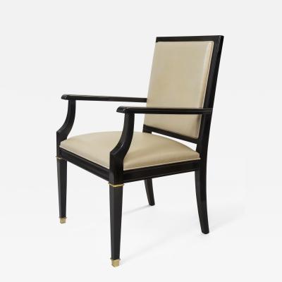 De Coene A Belgian Brass Mounted Black Lacquer Arm Chair by De Coene Cabinetmakers