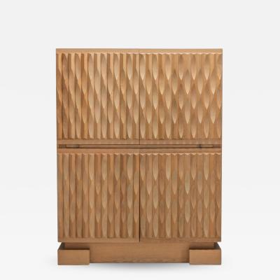 De Coene Brutalist Bar Cabinet in Oak by De Coene 1970s