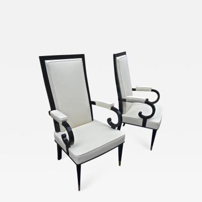 De Coene De Coene Majestuous High Back Pair Black Lacquered Arm Chairs