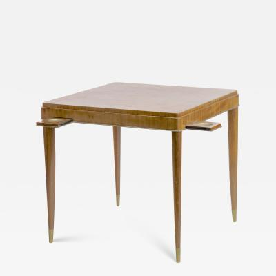 De Coene De Coene refined Art Deco rosewood playing card table with metal tapered legs