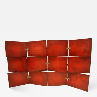 De Coene Vintage Red Lacquered Three Tier Screen by De Coene Freres