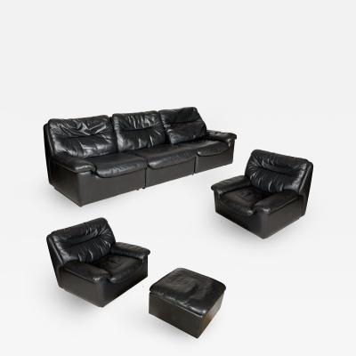 De Sede A Set of Vintage Leather Sofa Lounge Chair and Ottoman by De Sede Switzerland