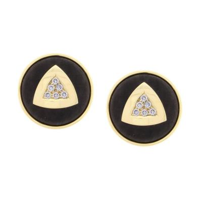 De Vroomen Leo De Vroomen Ebony Diamond Gold Earrings