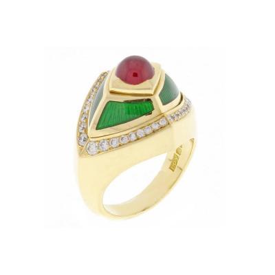 De Vroomen de Vroomen Enamel Ruby Diamond Gold Ring