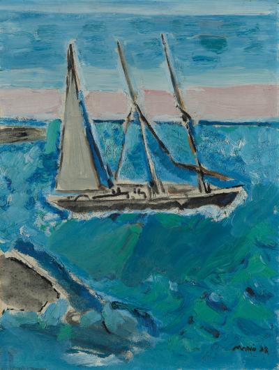 Debra Force Fine Art John Marin Sail Boat and Sea Maine 1938