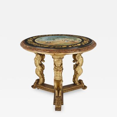 Della Valle Brothers Antique giltwood and scagliola circular table after Della Valle brothers