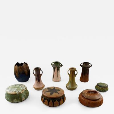 Denbac Collection of French art pottery vases lidded boxes Denbac