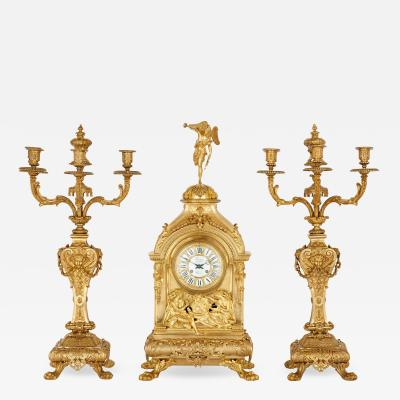 Deni re et Fils Antique Eclectic Style Gilt Bronze Clock Set by Henri Picard and Deni re et Fils