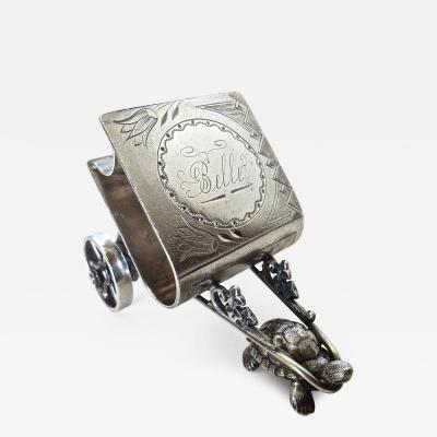 Derby Silver Company Turtle Pulling Cart Victorian Figural Napkin Ring Rare American Circa 1885