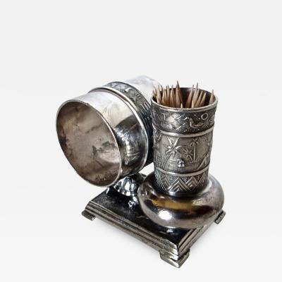 Derby Silver Company Victorian Silver Plate Turtle Napkin Ring Bud Vase American Circa 1880