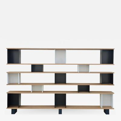 Design Fr res Black and White Horizontale Oak Shelving Unit