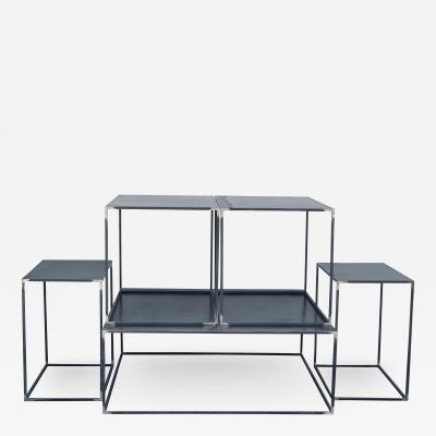 Design Fr res Complete Set of Filiforme Minimalist Patinated Steel Living Room Tables