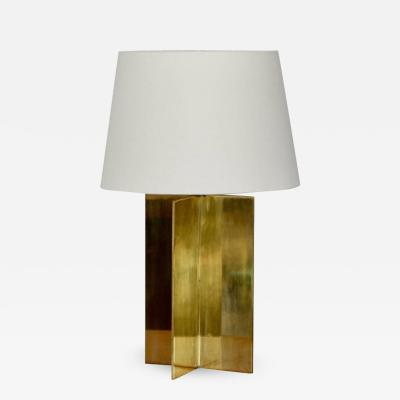 Design Fr res Croissillon Polished Brass and Parchment Table Lamp