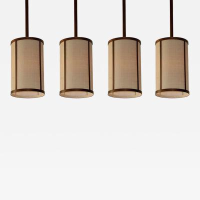 Design Fr res Cylindre Brass and Raffia Pendants