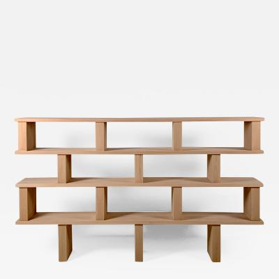 Design Fr res Four Shelves Verticale Polished Oak Shelving Unit
