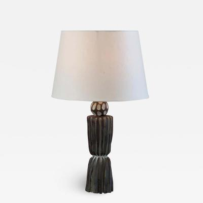 Design Fr res Grooved Pottery Sillon Lamp with Parchment Shade by Design Freres
