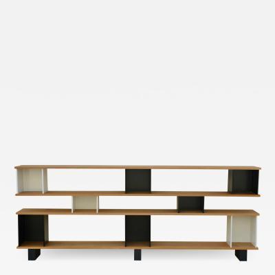 Design Fr res Low Black and White Horizontale Oak Shelving Unit