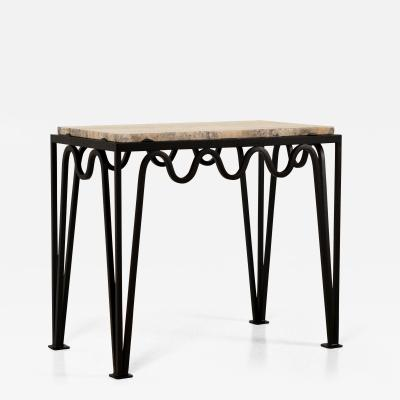 Design Fr res M andre Black Iron and Silver Travertine Side Table by Design Fr res