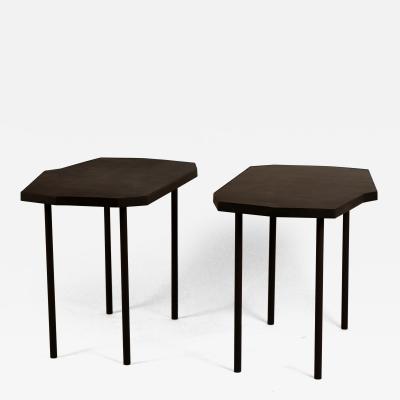 Design Fr res Pair of Asymmetrical D cagone Black Leather Side Tables by Design Fr res