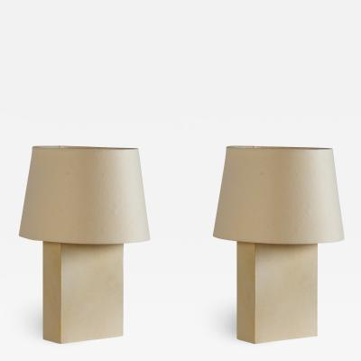 Design Fr res Pair of Bloc Parchment Table Lamp by Design Fr res