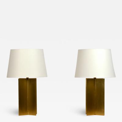 Design Fr res Pair of Chic Polished Brass and Parchment Paper Table Lamps