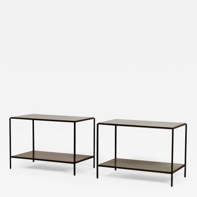 Design Fr res Pair of Chic Rectiligne Mirrored End Tables by Design Fr res