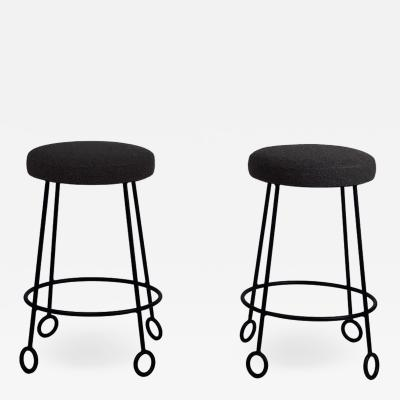 Design Fr res Pair of Chic Wrought Iron and Boucle Counter Stools