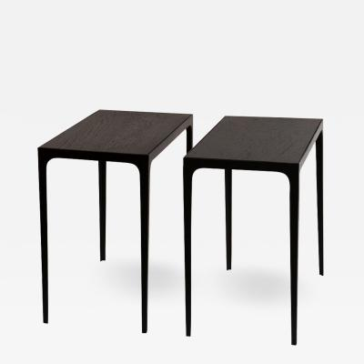 Design Fr res Pair of Ebonized Grooved Oak Esquisse Side Tables by Design Fr res