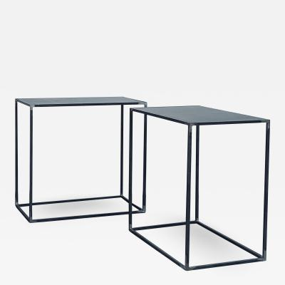 Design Fr res Pair of Filiforme Patinated Steel Minimalist Side Tables by Design Fr res