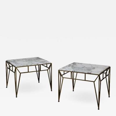 Design Fr res Pair of Large Angulaire Marble Side Tables