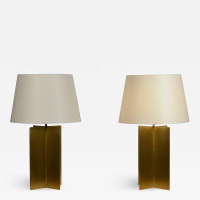 Design Fr res Pair of Large Custom Polished Brass Croisillon Lamps by Design Fr res