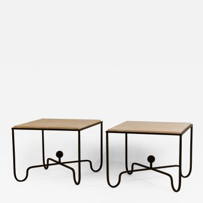 Design Fr res Pair of Large Entretoise Cream Travertine side tables by Design Freres