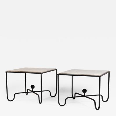 Design Fr res Pair of Large Entretoise Silver Travertine Side tables by Design Fr res