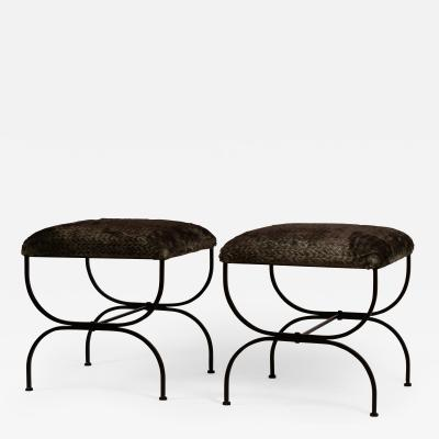 Design Fr res Pair of Large Faux Fur Strapontin Stools by Design Fr res